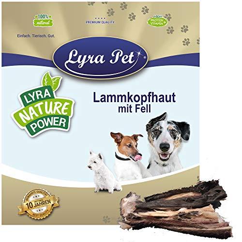Lyra Pet® 1 kg Lammkopfhaut mit Fell getrocknet Kausnack Kauartikel Leckerli Kauspaß Belohnung...