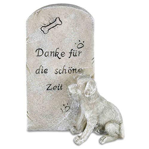 kruzifix24 Devotionalien Hunde Grabstein Tiergrabstein mit Spruch Danke für die schöne Zeit Polyresin...