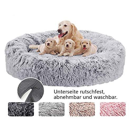 Orthopädisches Haustierbett für mittel und große Hunde, Tierbett Runde Doughnut Flauschige...