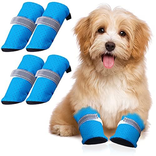 4 Stücke Sommer Hund Schuhe Pfote Schutz Haustier Mesh Sandale Schuhe Rutschfeste Hundestiefel mit...