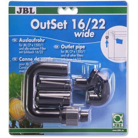 JBL - Outset Wide 16/22 Wasserrücklauf-Set mit Breitstrahlrohr für Außenfilter von Aquarien mit 16/22...