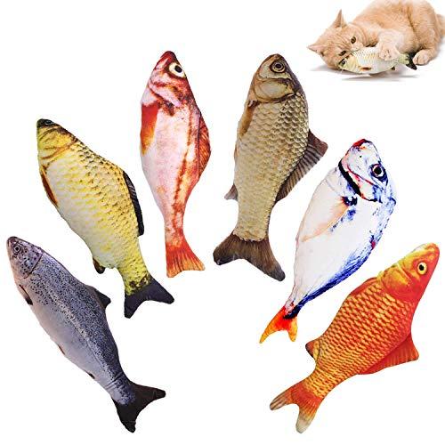 WELLXUNK® Spielzeug mit Katzenminze, 6 Stück Katze Interaktives Spielzeug Katze Fisch Spielzeug Plüsch...