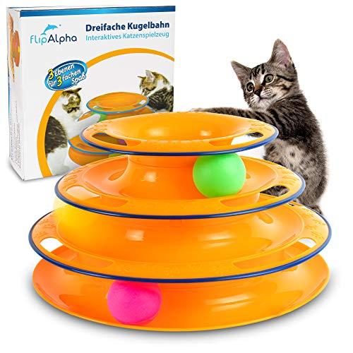 flipAlpha Katzenspielzeug - Dreifache Kugelbahn zur Beschäftigung für die Katze - interaktives...
