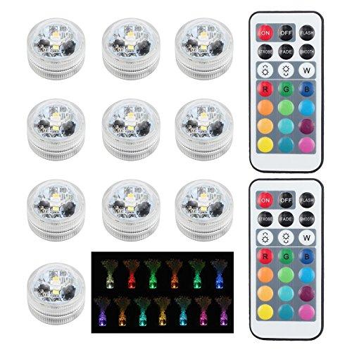 10 x LED Unterwasserbeleuchtung IR-Fernbedienung 10M Dekolicht Unterwasserlicht SMD5050 2 Batterien Weiß...