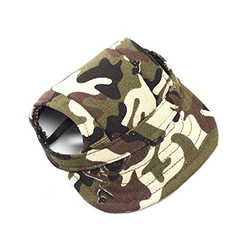 UEETEK Baseballkappe für kleine Hunde, aus Segeltuch, mit Ohrlöchern, Größe S (Camouflage-Farbe)
