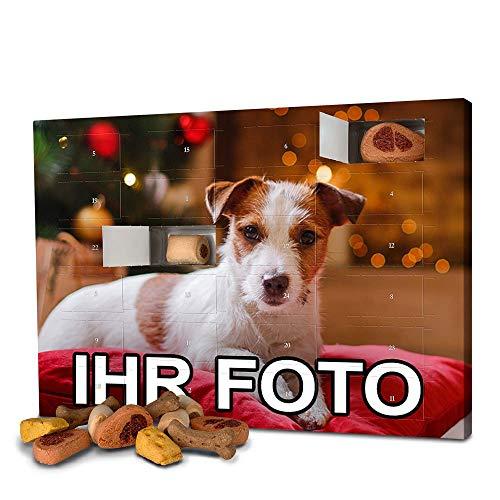 printplanet - Hunde-Adventskalender mit eigenem Foto personalisiert - mit Hunde Leckerlis gefüllt -...