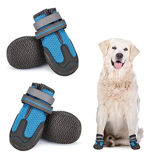Dociote Hundeschuhe pfotenschutz 4 Stück mit Anti-Rutsch Sohle, reflektierendem Riemen, Klettverschluss...