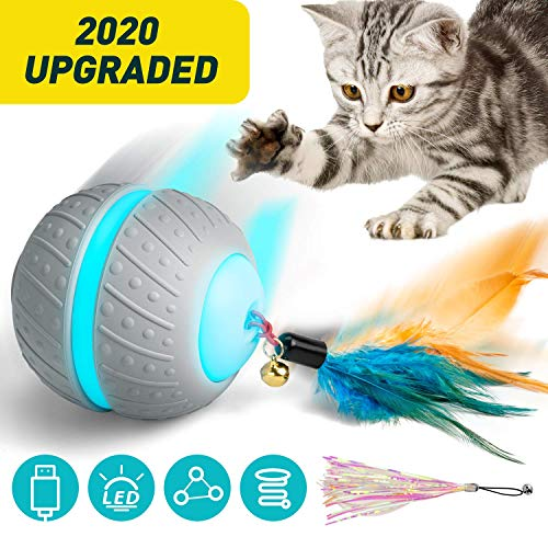 Ventvinal Katzenspielzeug Elektrischer Interaktives Ball, 2 Bewegungsmodi Katzenball mit USB-Aufladung...