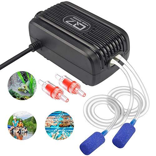 Aquarium Luftpumpe, Aquarium Sauerstoffpumpe mit Doppel Auslass Luft ventil Aquarium Air Pump für...