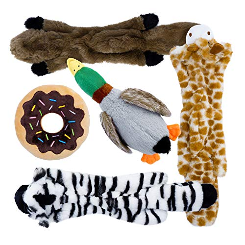 Toozey 5 Stück Quietschende Spielzeug für Hund - DREI Füllungsfreie Hundespielzeuge und Zwei...