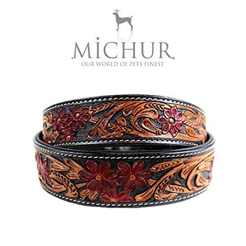 MICHUR Flora Hundehalsband Leder, Lederhalsband Hund, Halsband, SCHWARZ Rot Braun, Leder, mit roten...