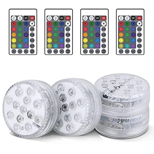 Unterwasser Licht, 4 Stücke RGB Multi Farbwechsel Wasserdichte LED Leuchten, Pool Licht für Vase Base...