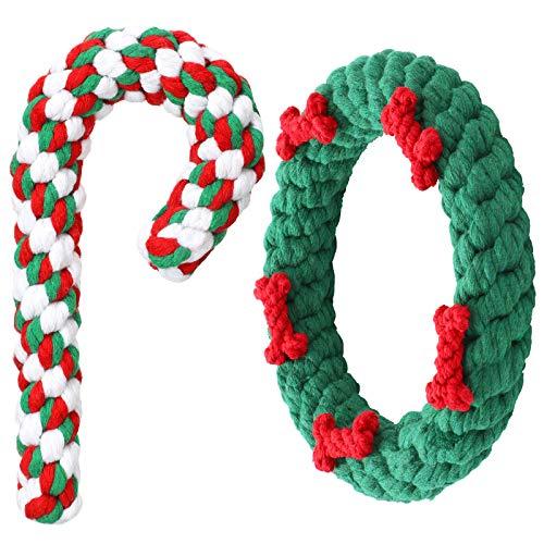 2 Stück Weihnachten Hund Kauspielzeug und Zuckerstange Hunde Seil Spielzeug Haustier Langlebiges...