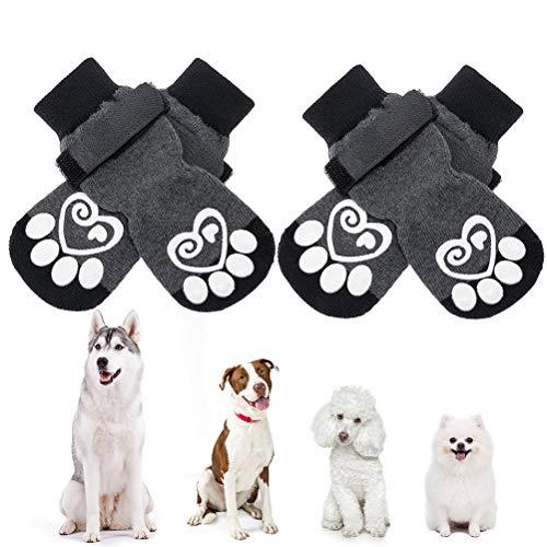 KOOLTAIL Hundesocken Anti-Rutsch Hundepfotenschutz, Hundeschuhe, 2 Paar verstellbare Hundesocken für...