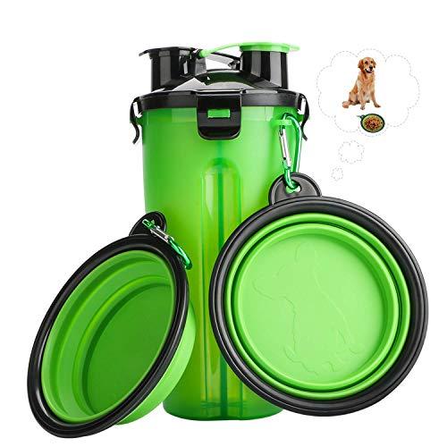 RIZON Tragbare Haustier Wasserflasche 2-in-1 Set mit Faltbar Hunde Reisenapf (2er Set),Katzen Hunde...