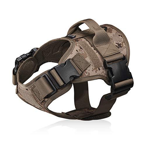 Dociote Taktisches Hundegeschirr militär für mittelgroße große Hunde XL Camouflage Braun