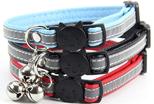 TenCloud Hundehalsbänder aus Leder mit Glöckchen, verstellbare ID-Halsbänder aus Leder, für Welpen,...