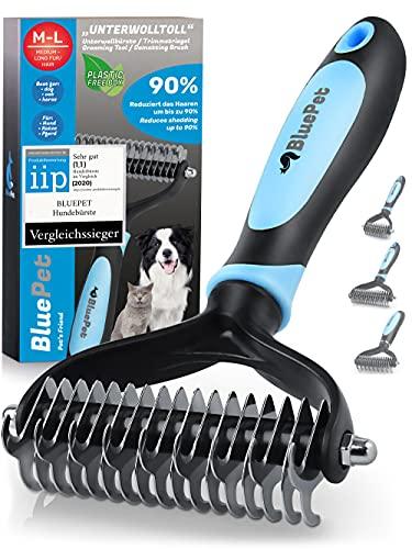 Bluepet® UnterwollToll Hundebürste & Katzenbürste für langhaar | Unterwollkamm entfernt Unterwolle &...