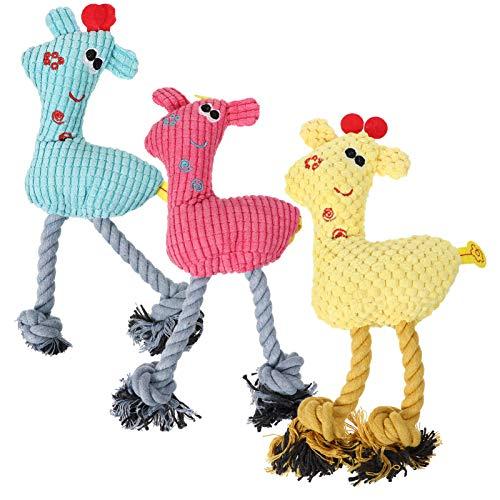 Balacoo 3 Stück Baumwollseil Hundespielzeug Cartoon Welpe Kauspielzeug Baumwollseil Quietschspielzeug...
