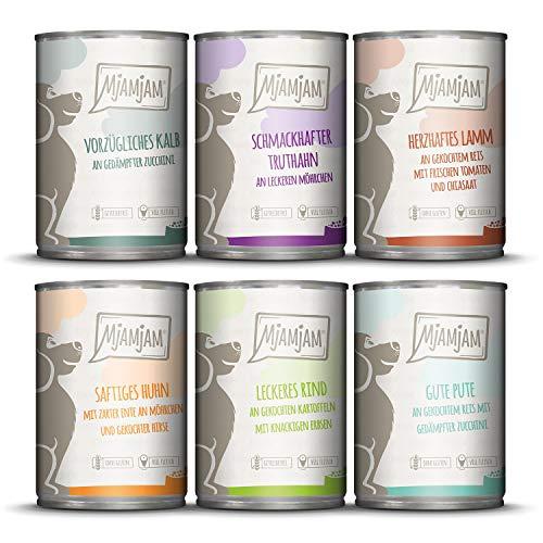 MjAMjAM - Premium Nassfutter für Hunde - Mixpaket II - mit Huhn & Ente, Rind, Pute, Kalb, Truthahn,...