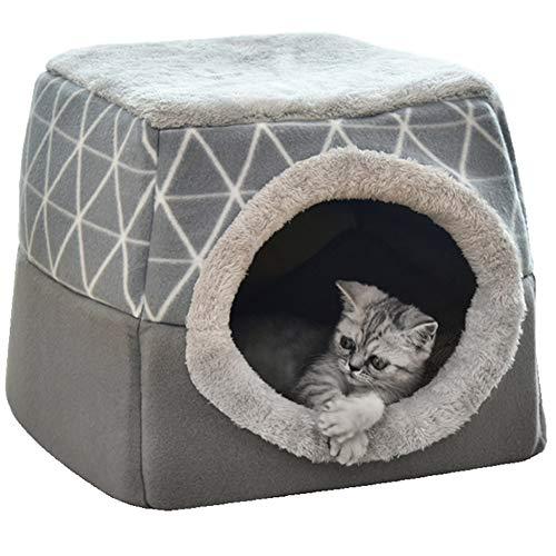 ZUOLUO Hundehöhle Kleine Hunde Katzenhöhle Haustier-Innenhaus Flauschiges Hundebett Tierarztbett Für...