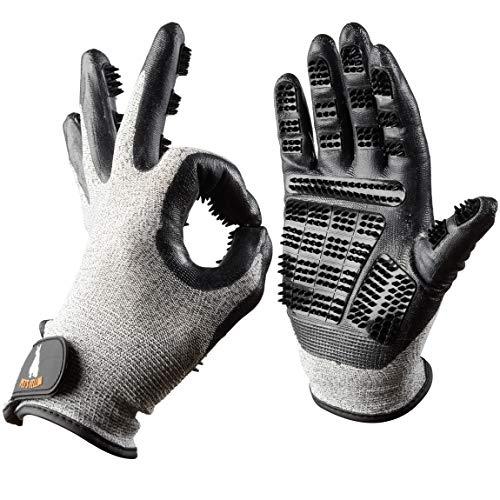 PETSFELLOW® Premium Fellpflege-Handschuhe, Bürste für Hunde-Haare, Katzen-Haare, Pferde-Haare, 1 Paar...