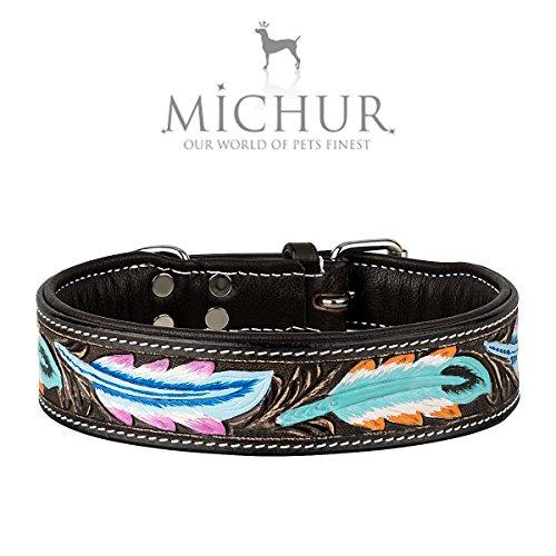 MICHUR Pietro Braun Schwarz mit Feder Muster, Hundehalsband Leder, Lederhalsband Hund, Halsband, Leder,...