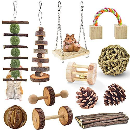 ERKOON 12 Stück Hamster Kauspielzeug, Natürliches Kaninchen Meerschweinchen Holz Übung Glockenrolle...