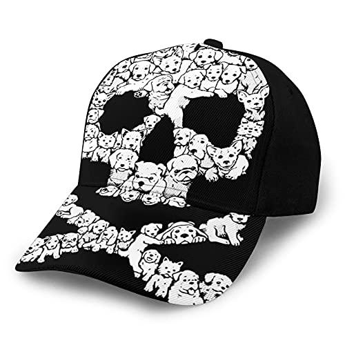 ZORIN Baseball Cap für Männer Frauen Niedlich Welpen Hund Schädel Schwarz Weiß Schwarz Hip Hop Caps...