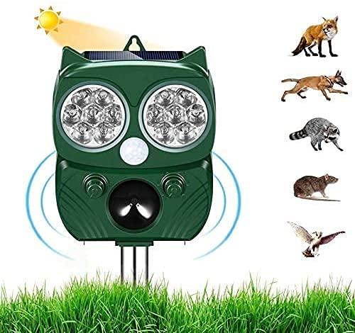 Ultraschall Abwehr mit Solarbetrieb und Blitz gegen Katzen, Hunde, Marder, Tierabwehr, Katzenschreck...