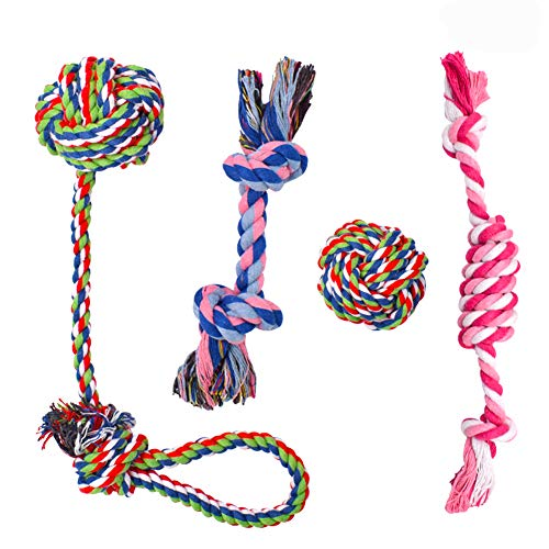 BETOY Hundeseile Hundespielzeug, 4 Stück Hunde Kauspielzeug Seil Baumwollseil Interaktives Pet Rope zur...