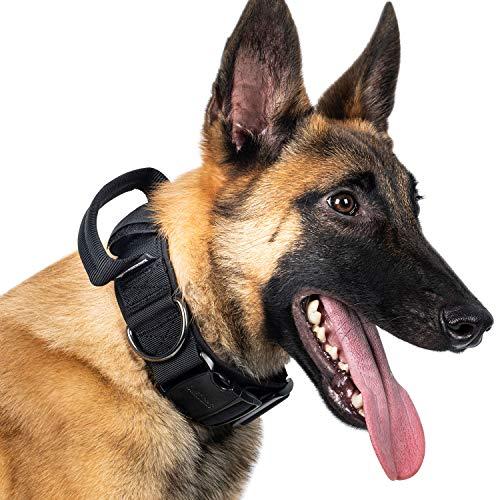 OneTigris K9-Halsband mit Metallschnalle für Hunde | MEHRWEG Verpackung (Schwarz, L)