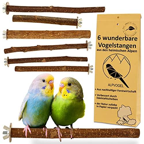 6 Natur Sitzstangen: für Wellensittich, Kanarienvogel, Nymphensittich. VERBESSERT: Edelstahl Scheiben &...