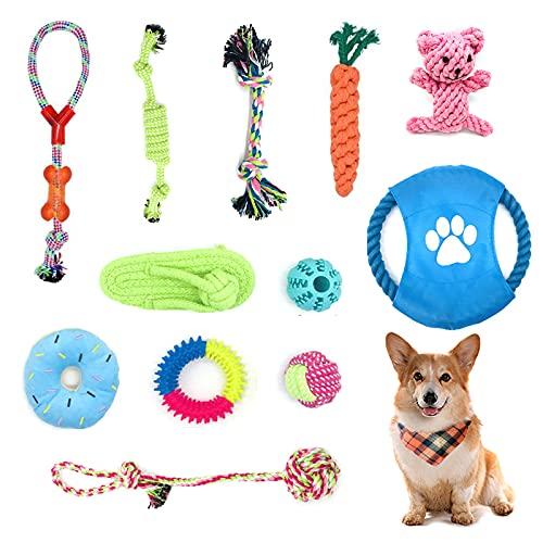 Adurei Welpenspielzeug 12 Stück Hundespielzeug 100% natürliche Baumwolle Ungiftig Seil Hunde vermeiden...