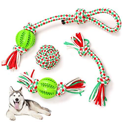Hundespielzeug Seil Set, 4 Stück Interaktives Spielzeug Hund Kauspielzeug Seil mit Ball Unzerstörbar,...