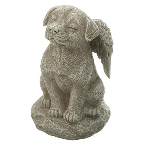 Hunde Figur hockend mit geschlossenen Augen und Engelsflügeln. 11cm. 1 Stück