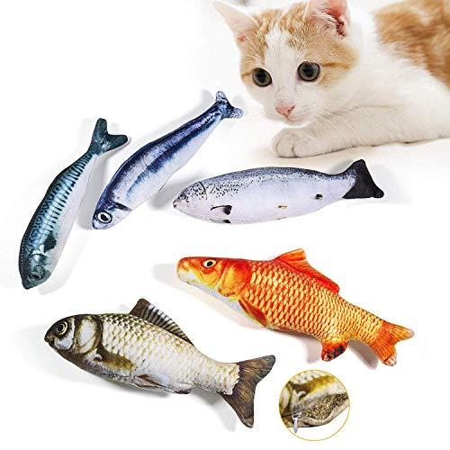 WELLXUNK Spielzeug mit Katzenminze 5 Stück Katze Interaktives Spielzeug Katze Fisch Spielzeug Plüsch...