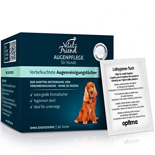Vital-Friend Augenpflege-Tücher Hund, konservierungsmittelfrei, steril verpackte Tücher für die sanfte...