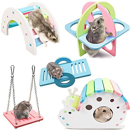 otutun 5 Stück Hamster Spielzeug, Hamsterspielzeugen Hamster House Hamster Haus DIY Regenbogenbrücke...
