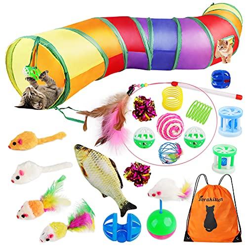 Dorakitten Katzenspielzeug Set mit Katzentunnel 20 Stück Spielzeugmäuse interaktives faltbares...