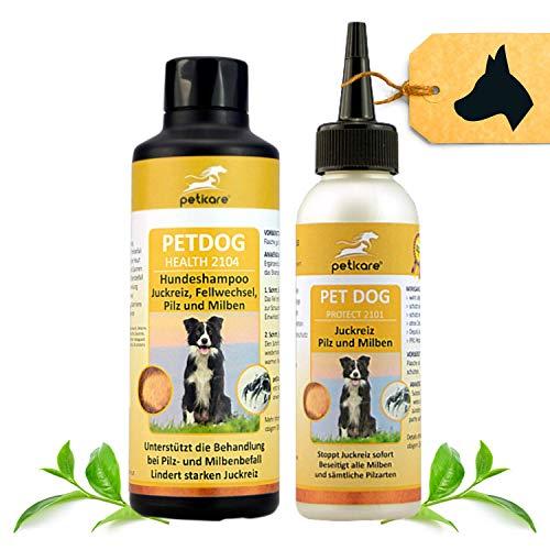 Peticare Hunde Spezial Pflege-Set bei Juckreiz Milben Flöhe - Effektive Lotion 100 ml & Shampoo 250 ml...