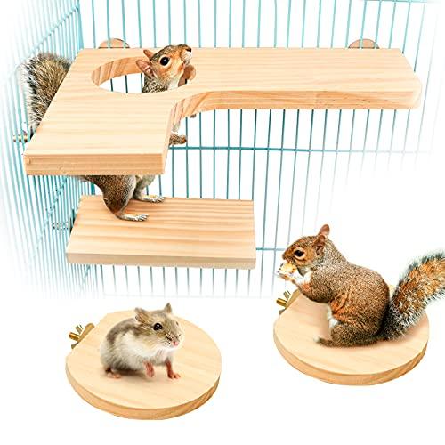 4 Stück Hamster Plattform, Hamster Spielzeug Naturholz Springen Plattform Haustierpedal Kleintiere...