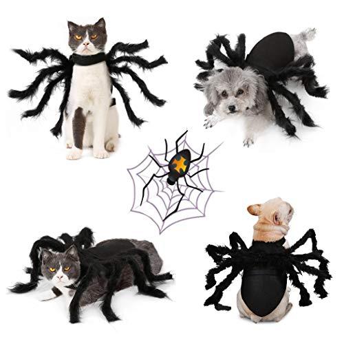 Idepet Haustier Hund Halloween Kostüm Hund Umhang Fledermaus Flügel Lila Octopus Hut Teufel Hörner Hut...