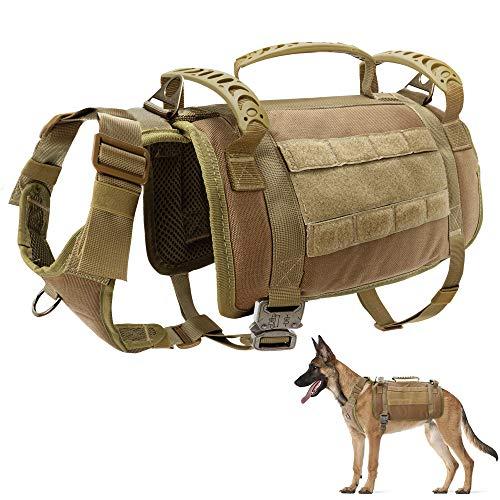PET ARTIST taktisches Hundegeschirr mit 3 Griffen & 3 Leinen-Clips & 2 Metallschnallen, Militär...