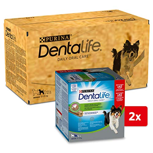 PURINA DENTALIFE Medium Hunde-Zahnpflege-Snacks reduziert Zahnsteinbildung, Huhn, mittelgroße Hunde, 84...