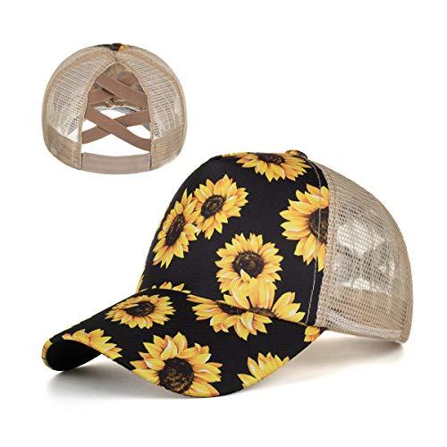 Uphily Damen Pferdeschwanz Baseballmütze, A-Netz-Sonnenblume, Large