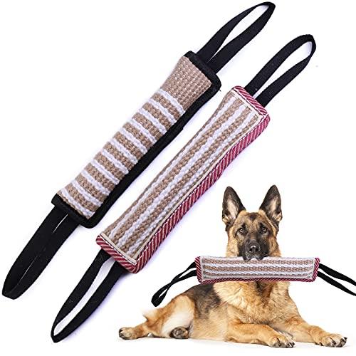 EPODA 2 Stück Beisswurst für Hunde, Jute Beisswurst mit 2 Griff, zum K9 Training, Tauziehen und...