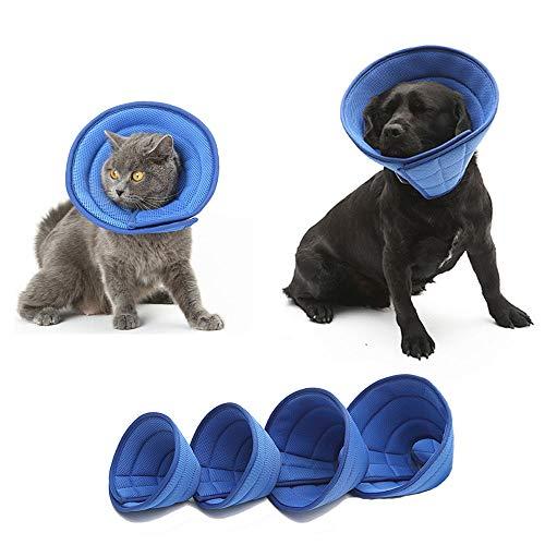 HanryDong Atmungsaktives Halskrausen für Katzen Hunde, Mesh-Elizabethan-Halsband, blaues, verstellbares,...