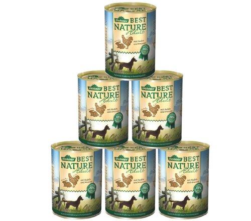 Dehner Best Nature Hundefutter, Adult Huhn und Kaninchen mit Nudeln, 6 x 400 g (2.4 kg)