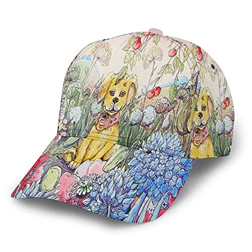 Baseball Kappe Hund Und Blumentierkunst Cartoon Floral Nature Puppy Yellow Baseballmütze Casual...